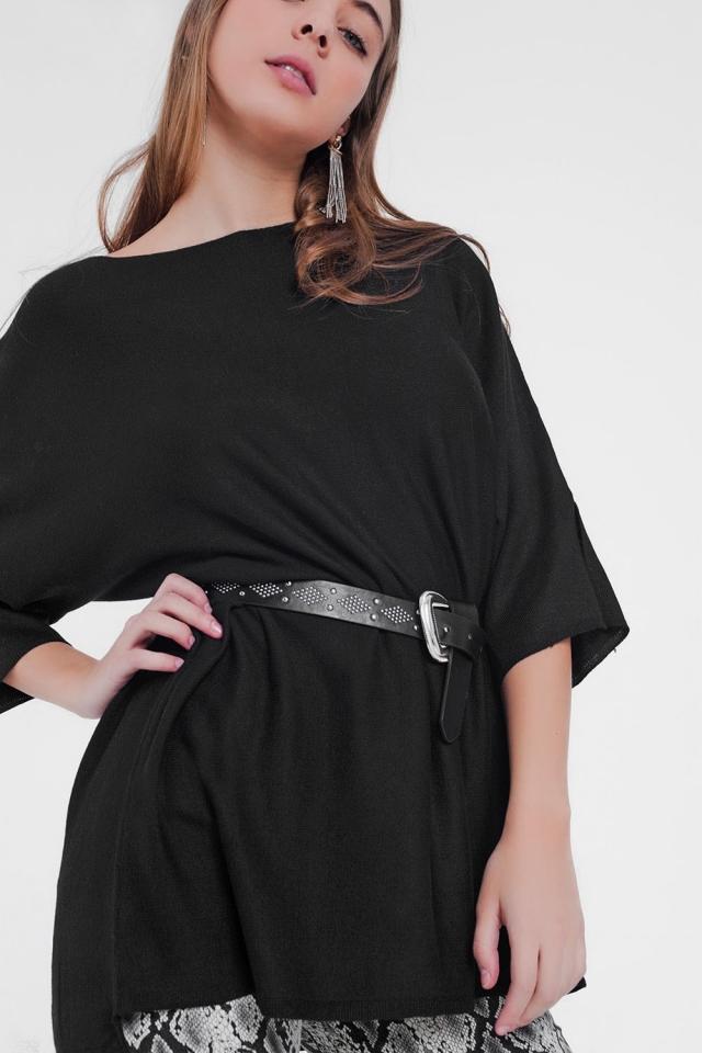 jersey negro de diseño holgado y manga corta