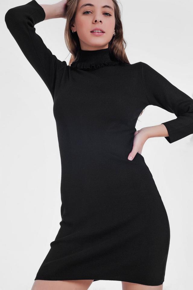 Vestido básico negro estilo jersey con cuello vuelto
