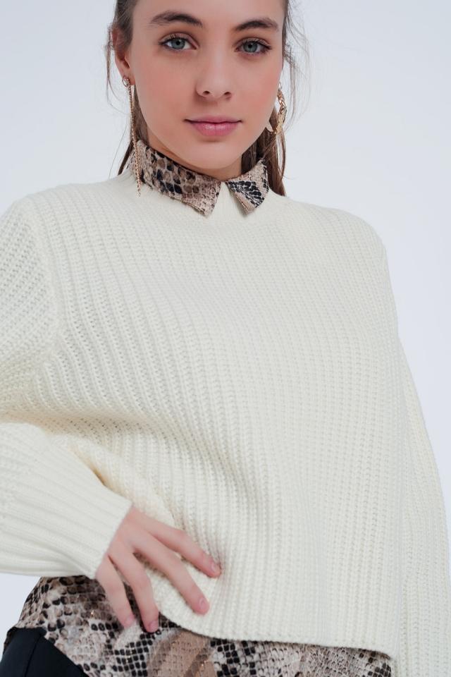 Jersey de punto texturizado con cuello subido