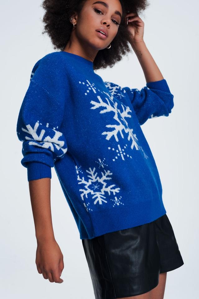 Jersey navideño con diseño de copos de nieve en color azul