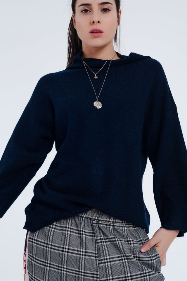 Jersey con cuello desbocado en azul