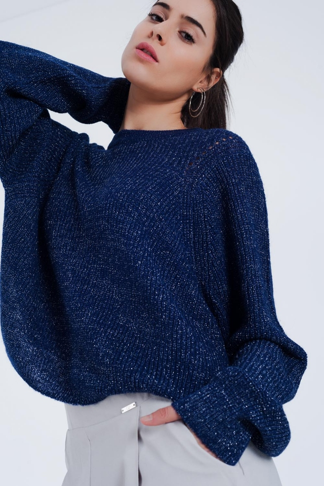 Jersey de punto acanalado azul marino con detalle brillante