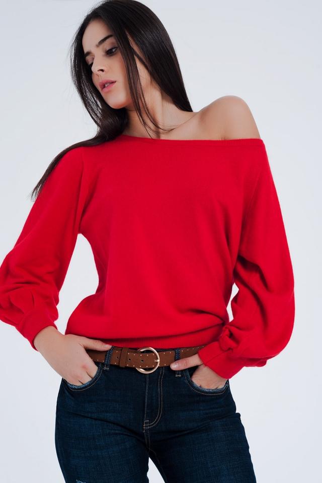 Jersey de punto con cuello barco en color rojo
