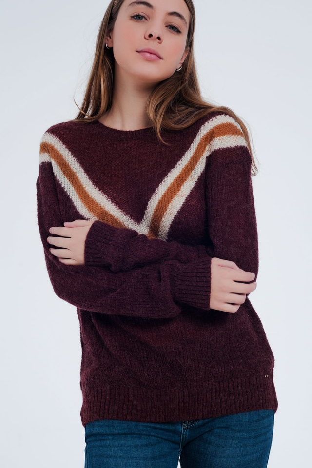 Maroon sweater with striped detail