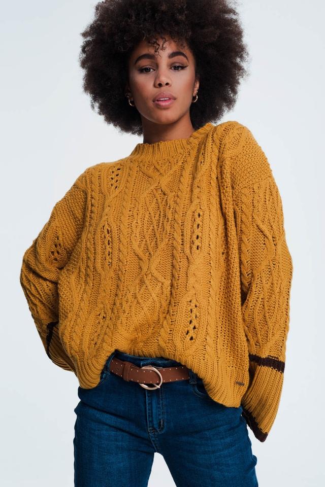 Jersey de ochos con ribete de rayas en contraste color mostaza