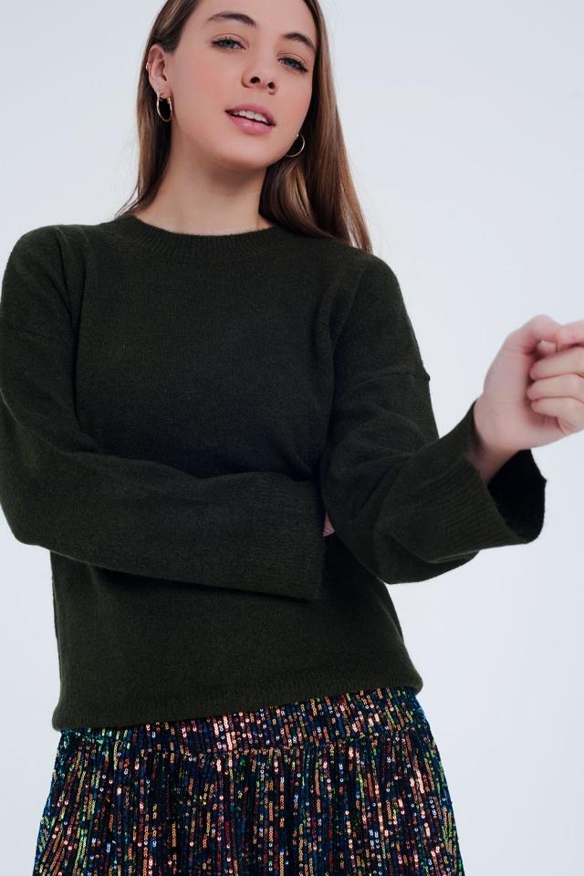 Jersey con cuello redondo y bajo de canalé en verde