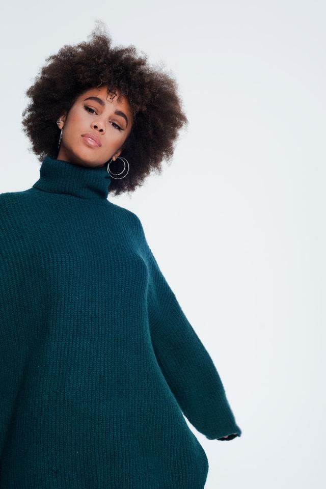Jersey extragrande con cuello alto en verde