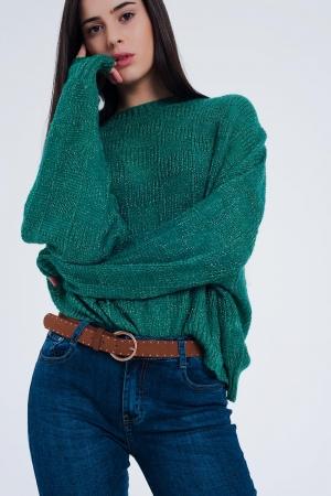 Jersey extragrande a cuadros texturizados en verde