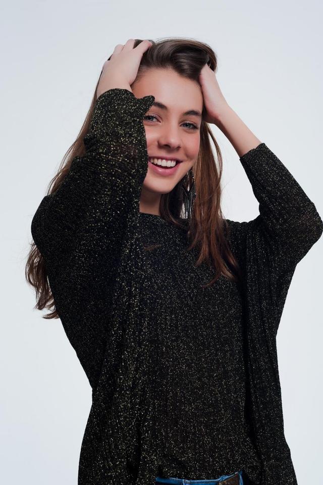 jersey con brillantina en color negro