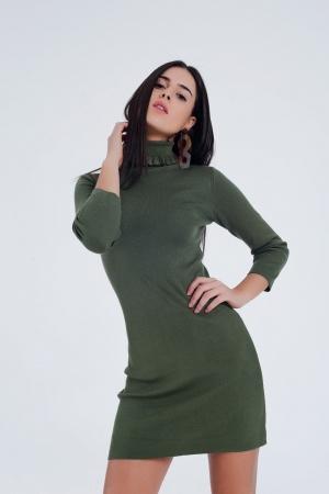 Vestido básico verde estilo jersey con cuello vuelto