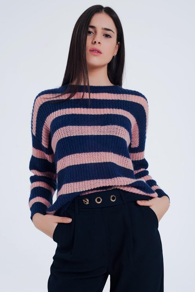 Suéter de mohair rayado azul marino de lurex