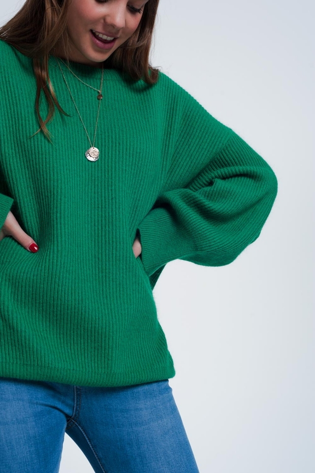 Jersey extragrande con manga murciélago en verde