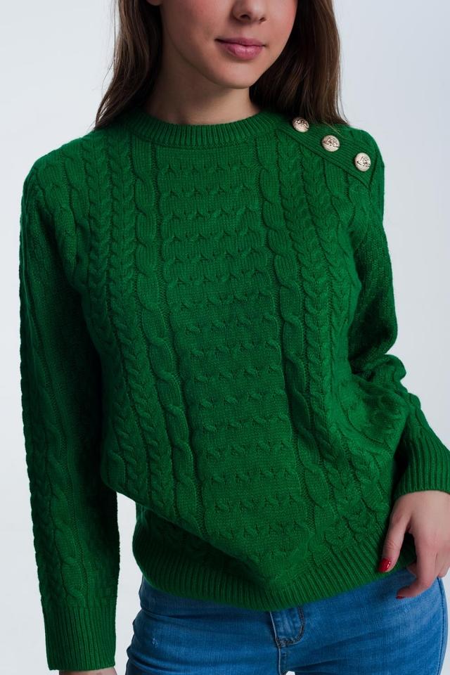 Jersey de punto texturizado con cuello redondo en verde