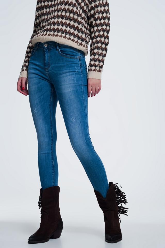 Vaqueros de cintura alta con diseño ajustado de denim azul claro
