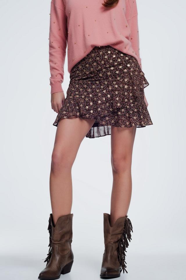 Minifalda con estampado floral y volantes escalonados en color marron