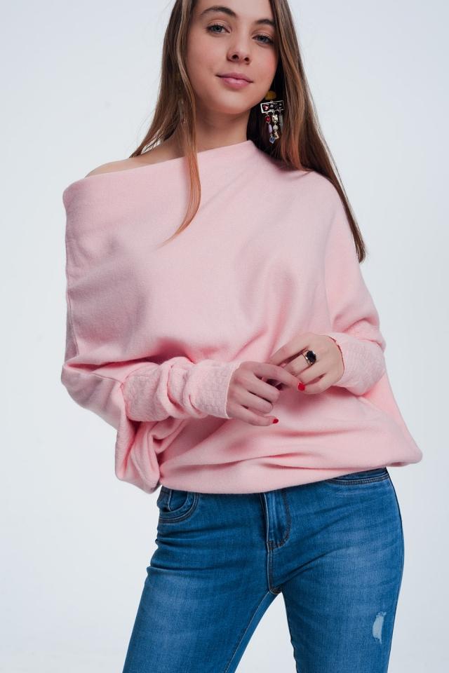 Jersey con diseño asimétrico color rosa