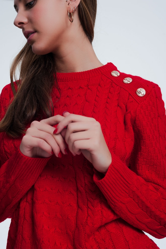 Jersey de punto texturizado con cuello redondo en rojo