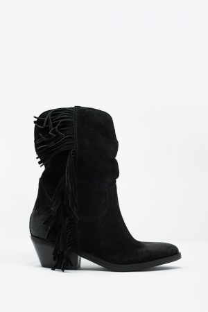 Botas estilo western con flecos en color negro