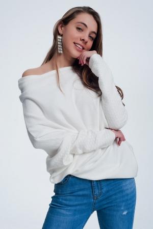 Jersey con diseño asimétrico color crema