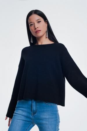 Jersey con detalle de manga de canalé en negro