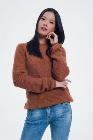 Jersey con detalle de punto calado en color marron