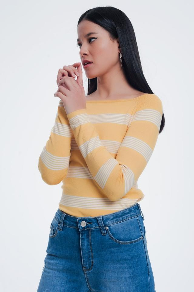 Jersey con cuello barco a rayas en color amarillo