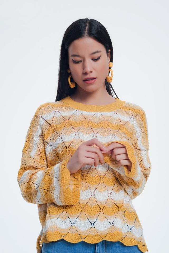 Jersey tejido a mano a rayas color amarillo