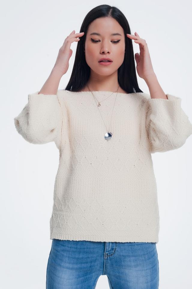 Jersey texturizado en tono crema
