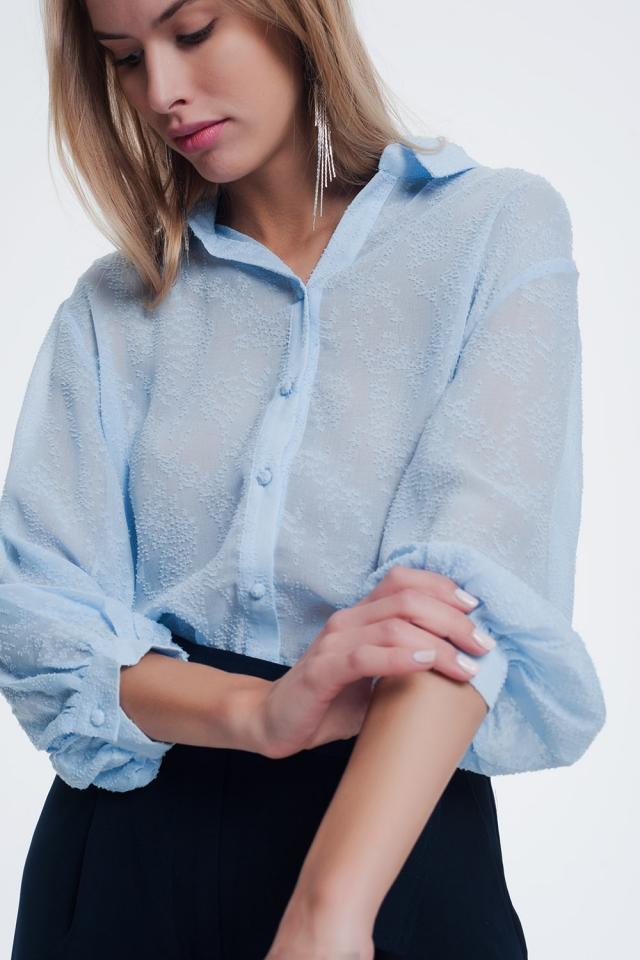 Blusa azul de hilo texturizado