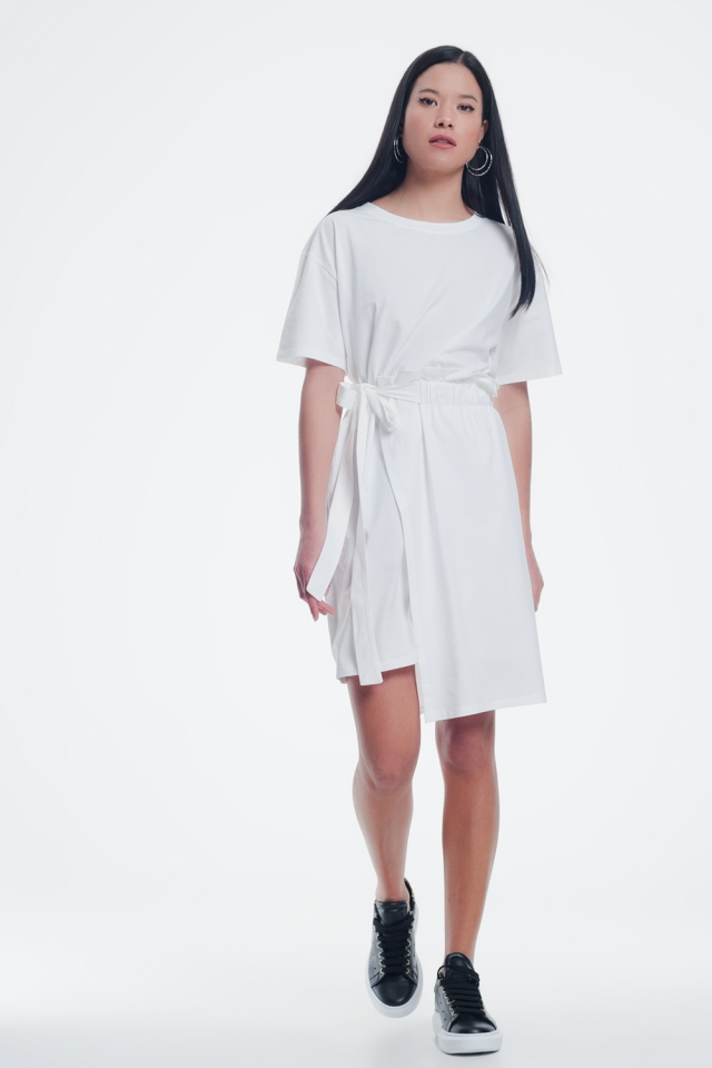 Cream dress with elastic side band