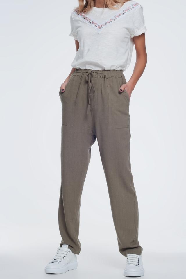 Pantalon largo caqui con cintura elástica