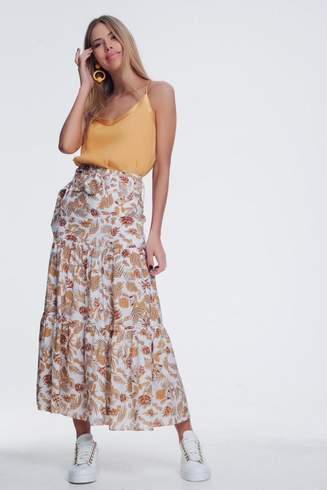 Falda recta a media pierna con estampado floral de jungla