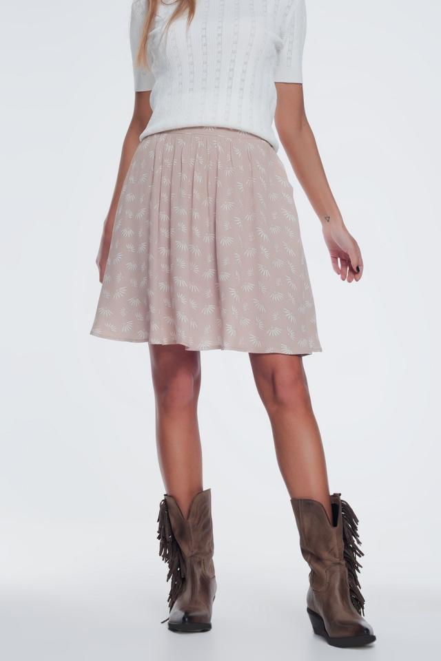 Minifalda con vuelo y diseño floral vintage en color beige