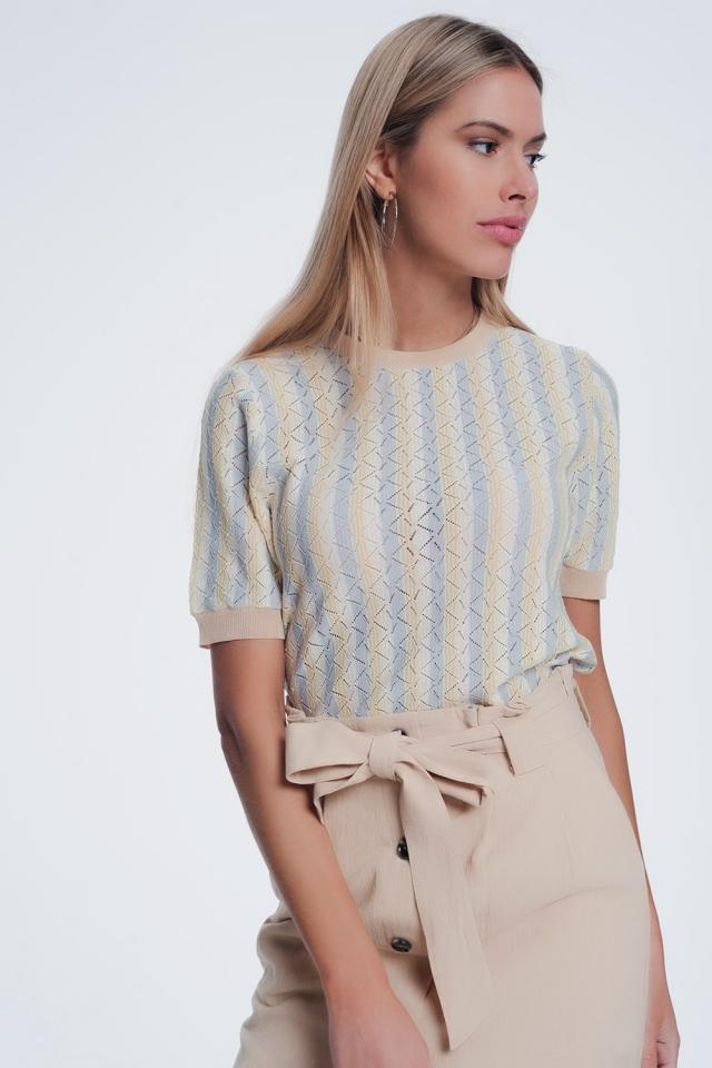 Jersey con cuello redondo a rayas amarillas