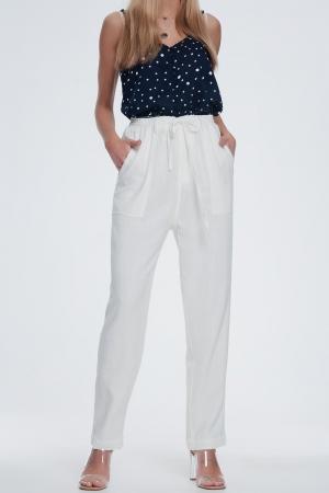 Pantalon largo blanco de lino con cintura elástica
