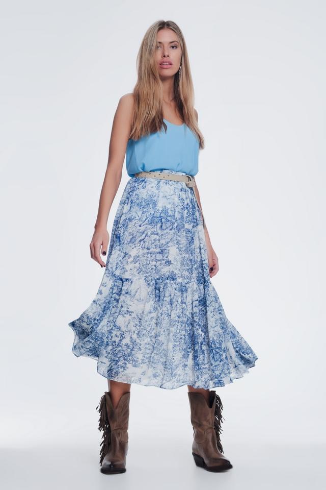 Falda midi plisada en azul con estampado