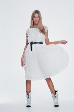 Vestido blanco midi con lunares y volantes