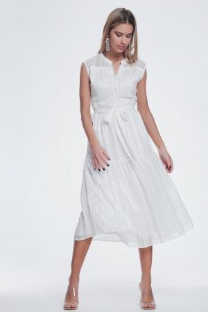 Vestido blanco midi sin mangas y cinturon
