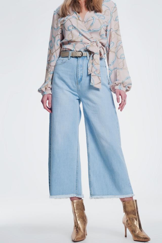 Vaquero culotte con bajo desgastado