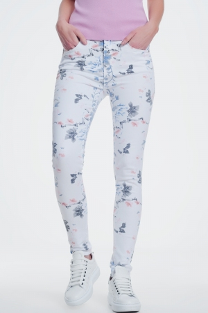 Pantalon blanco pitillo con estampado floral