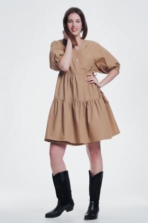 vestido ancho color camel con manga corta