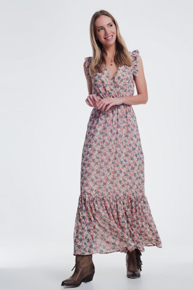 vestido largo con cuello en v en estampado floral beige