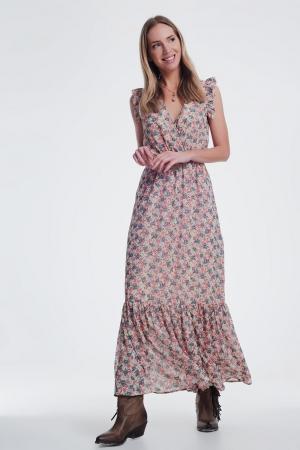 vestido beige largo con cuello en v en estampado floral