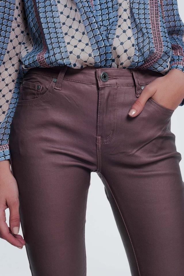Pantalones ajustados de talle alto en rosa