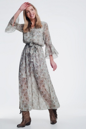vestido midi de manga larga con estampado verde