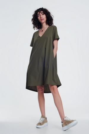 Vestido en popelin estilo túnica con bolsillos en color caqui