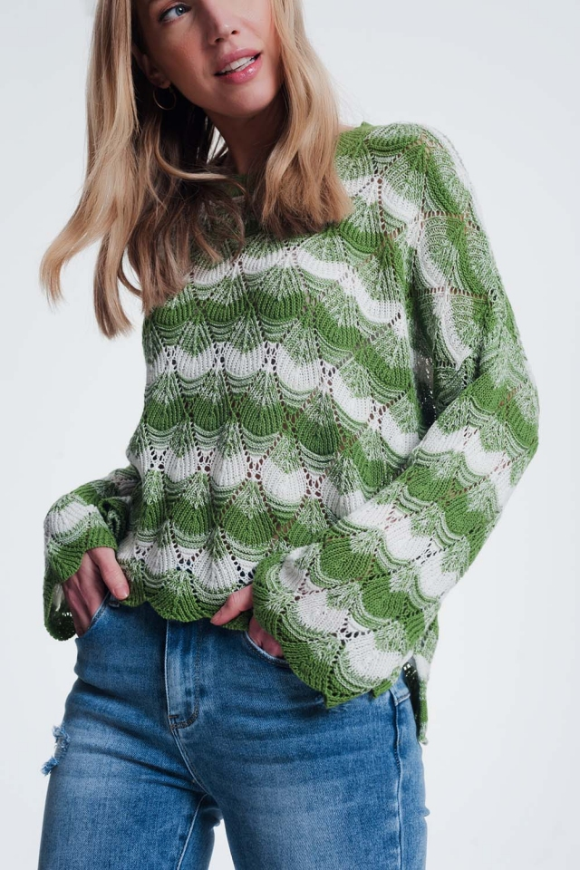 Jersey tejido a mano a rayas color verde