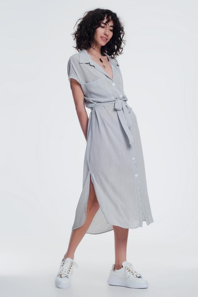 Vestido crema camisero de rayas con cinturón