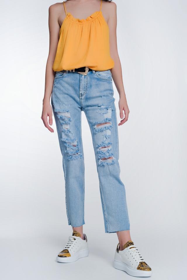 Jeans capri de pernera ancha con bajos sin rematar en azul claro