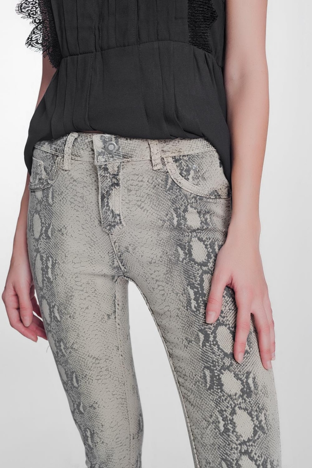 Pantalon estampado serpiente reversible en beige